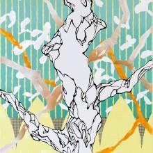 大橋麻里子/Mariko Ohashi 《樹のある所》 2017, 91.0×72.7cm, oil, acrylic on canvas, silk screen
