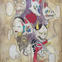 上床加奈/Kana Uwatoko 《untitled》 2016, 20x15cm, acrylic, water color, ink, paper