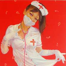 Flower Nurse なでしこミルトニア, 2009, 100x65.2cm, 39 3/8x25 5/8in., rhinestone, lame, oil and acrylic on canvas