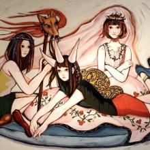 藤川さき/Saki Fujikawa《いのちのさしみ》 2016, 112×145.5cm, acrylic on canvas