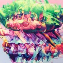 東 麻奈美/Manami Higashi《MERRY GO ROUND(rainy day)》2018, 15.8×22.7cm, acrylic on panel with cotton