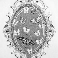 南花奈/Kana Minami《鏡のなかから/From in the mirror》 2015, 21x15cm, 8 1/4x5 7/8in., ink and pencil on paper
