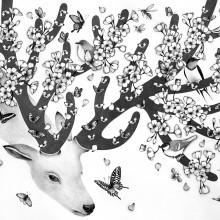 南花奈/Kana Minami 《Coming of spring》 2017, 60.6x72.7cm, ink and pencil on paper