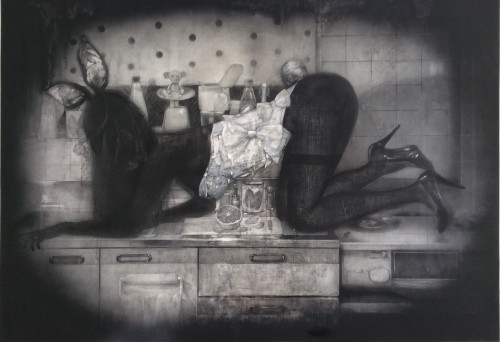 花嫁衣装を纏う女/2015 72.8x103cm パネル・和紙・白亜地・鉛筆・銀筆・墨・アクリル絵具