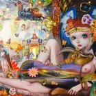 山際マリ/Mari Yamagiwa《Fragment of Nostalgia》2015, 53x72.7cm, mixed media on panel