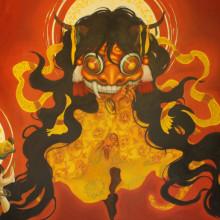 宮間夕子/Yuko Miyama《陽/yang》2015, 162x390cm, 油彩、テンペラ