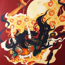 宮間夕子/Yuko Miyama《猛火に舞う/dancing in flame》2016, 145.5x112cm, oil on cotton with chalk