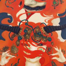 宮間夕子/Yuko Miyama《結ぶ刻印/performed mudra》2016, 33.3x22cm, oil on cotton with chalk