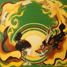 宮間夕子/Yuko Miyama《太陽の意思/solar will》2016, 100x100cm, oil and tempera on cotton with chalk