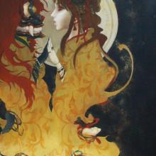 宮間夕子/Yuko Miyama《月の誓い/the moon vow》2016, 33.3x24.2cm, oil and tempera on cotton with chalk