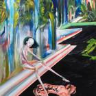 前川ひな/Hina Maekawa《Oni no Hashi》2016, 65.2x50cm, oil and acrylic on canvas