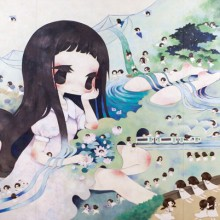 金田涼子/Ryoko Kaneta 《星霜を眺めて/Looking at many summers and winters》 2014, 194×390.9cm, acrylic on canvas