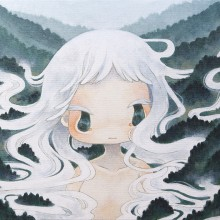 金田涼子/Ryoko Kaneta 《朝霧ちゃん/Morning-mist》 2015, 36.4×51.5cm, acrylic on canvas