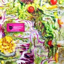 服部桜子/Sakurako Hattori 《10品目のサラダ迷路》 2017, 22.7 x 22.7 cm, 雲肌麻紙、膠、岩絵具、水干、胡粉、色鉛筆