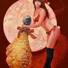 伊東明日香/Asuka Ito《X'mas チキンウーマン》, 2017, 41×31.8cm, oil on canvas