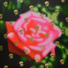 笠原 出/IZURU KASAHARA 《Fluffy Limbo / Pink rose》2013,2018, 60.6×60.6cm, Oil and gold leaf on canvas