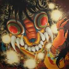 宮間夕子/YUKO MIYAMA 《激質なる八珠》2018, 162.1x162.1cm, 油彩、テンペラ、綿布、白亜地