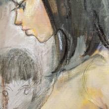 波磨茜也香/Ayaka HAMA《確認》 2018, 38×45.5cm, 油彩、クレヨン、鉛筆、キャンバス