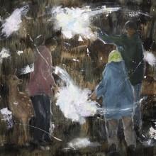 植田陽貴/Haruki Ueda 《世界の作りかた》 2018,  油彩、キャンバス 45.5x45.5cm
