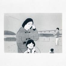 しもかわしょうこ/Shoko Shimokawa 《1987, Tokyo blinking》2018, carbon transfer , printing paper, 25.6x37.9cm