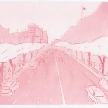 しもかわしょうこ/Shoko Shimokawa 《Yasukuni Street》2018, carbon transfer , croquis paper, 24x29.8cm