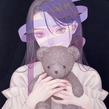 紺野真弓/Mayumi Konno 《Under cover of images》 2019, 35.6x45.7cm, アクリル、キャンバス