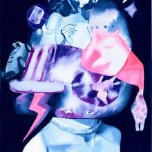 平井豊果/Yutaka Hirai 《肖像画#2》 2018, 51.5x36.4cm, アクリルガッシュ、コラージュ、キャンバス
