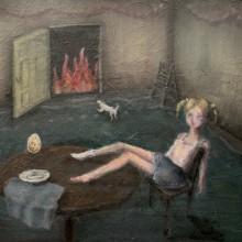 冨岡想/Sou Tomioka《地獄の扉》 2019 , 38.5x51.5cm, 油彩、パネル