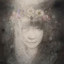 伊東明日香/Asuka Ito 《死を意識して、美しく生を纏う》 2019-2020, 40×30cm, 麻布、鉛筆、銀筆、水彩、墨、アクリル