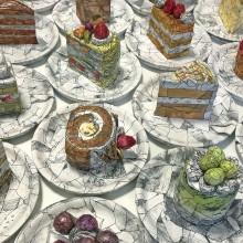 高田茉依/Mai Takada 《#cakes》 2018, 1点あたり16cm×16cm×9.5cm(立体:全18点), 1点あたり10.5cm×10.5cm(平面:全18点), ミクストメディア