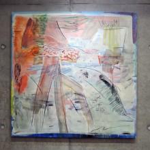 小穴琴絵/Kotoe Oana 《机と足》 2019, 100x100cm, キャンバス、油彩、木炭