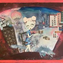 時田美鈴/Misuzu Tokita 《當世香港夜景》 2020, 45.5×38×6.3cm, アクリル、キャンバス、ミクストメディア