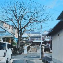 八太栄里/ERI HATTA 《愛宕灯籠のある風景4(余部町清水)》 2021, 33.3×33.3cm, キャンバス,アクリル