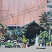 八太栄里/ERI HATTA 《顔のない家主》 2021, 31.8×41cm, キャンバス,アクリル