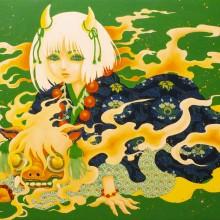 宮間夕子/YUKO MIYAMA 《おにごっこ》 2021, 40.9×31.8cm, 油彩、アクリル、綿布、白亜地