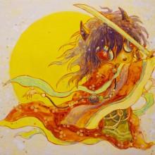 宮間夕子/YUKO MIYAMA 《振りかざす》 2021, 27.3×22.0cm, 油彩、アクリル、綿布、白亜地