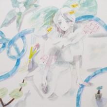 nana 「blue hose」 2021年 20×20×2cm 水彩紙、透明水彩、色鉛筆
