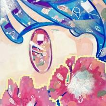 きゃらあい/Kyaraai 「みちばたダウンロード#1」 2021年 27.3×19cm キャンバス、アクリル