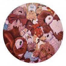 濱元祐佳/Yuka Hamamoto 「My ice cream melted.」 2021年 50×50cm キャンバス、 油彩
