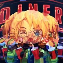 東 麻奈美/Manami Higashi 《DINER》 2021年 50×65.2cm 油彩、キャンバス